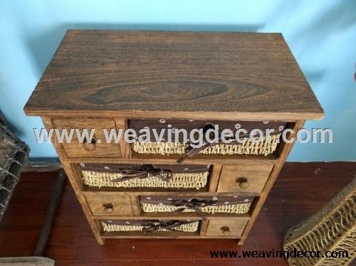 wooden storage cabinet wood cabinet with wicker baskets for home decor